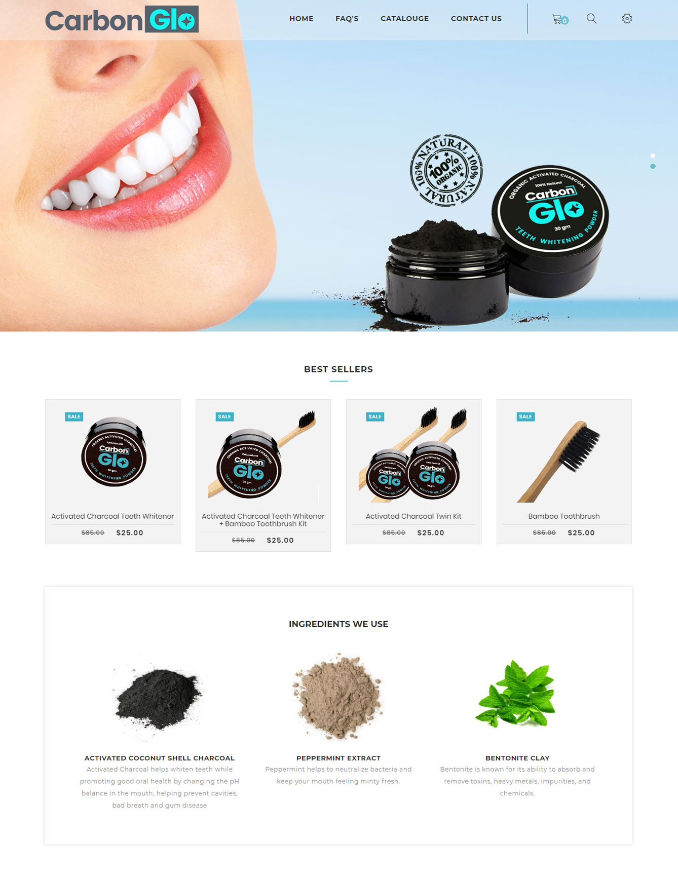 Carbon-glo website design